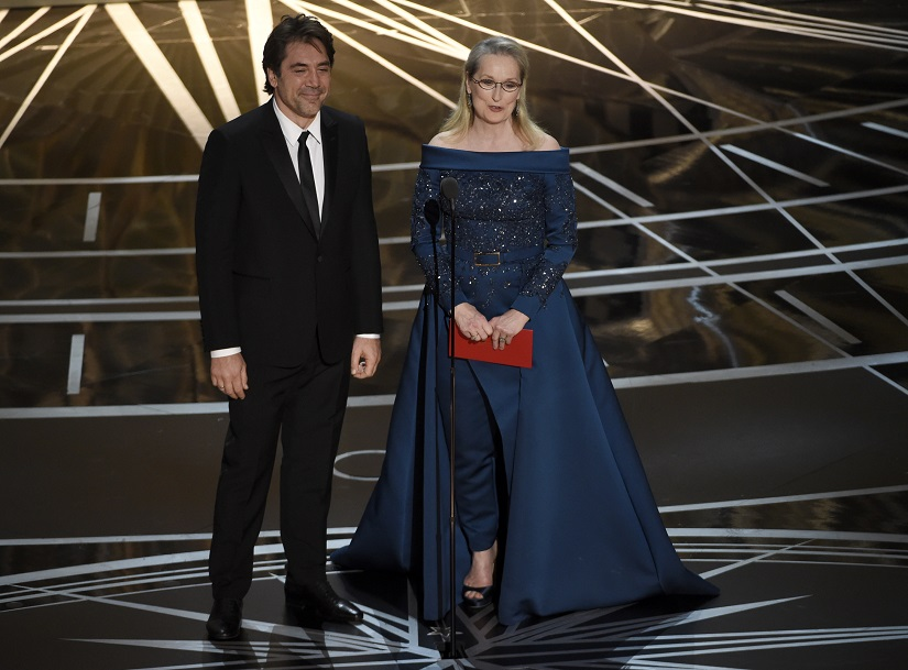 Javier Bardem, left, and Meryl Streep present the award for best cinematography at the Oscars on Sunday, Feb. 26, 2017, at the Dolby Theatre in Los Angeles. (Photo by Chris Pizzello/Invision/AP)