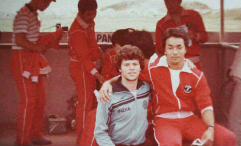 Maxwell Trevor with Japan's Sakamato, the winner of the 1982 Asian Games 1 km time trial. Image courtesy: Maxwell Trevor