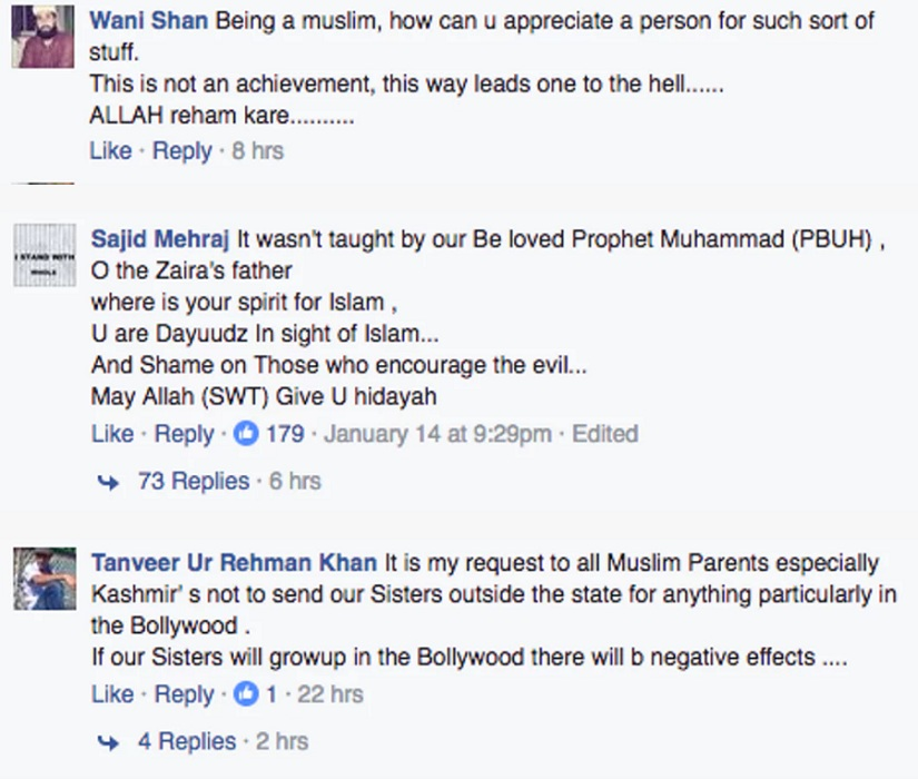 A sample of the hate mail received by Zaira after the meeting with Mufti. Photo from The Quint