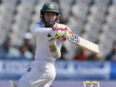 Mushfiqur Rahim plays a shot on Day 4 of the one-off Test against India in Hyderabad. AP