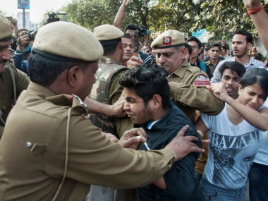 Students clash with police at Ramjas College in Delhi. File photo. PTI