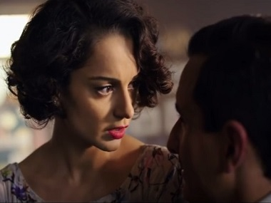 Kangana Ranaut with Saif Ali Khan in Rangoon. Screengrab from YouTube