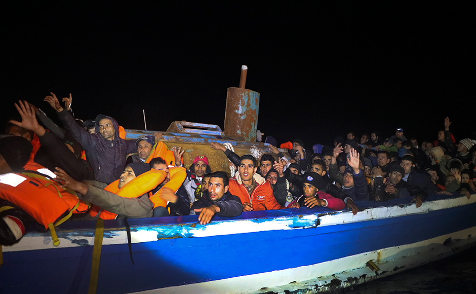 Plucked from the Mediterranean, over 400 migrants saved from a capsized dinghy off Libyan coast