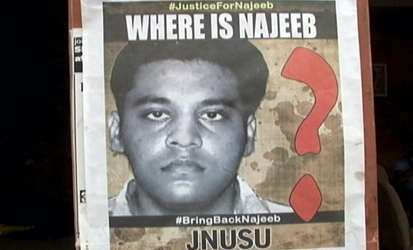 A poster put up by JNUSU in order to locate missing student Najeeb Ahmad. Source: News18
