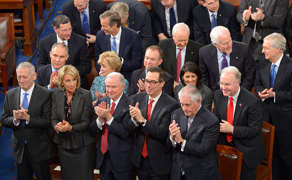 Cabinet members applaud as US President Donald Trump addresses a joint session of the US Congress on February 28, 2017, in Washington, DC. Mandel Ngan / AFP