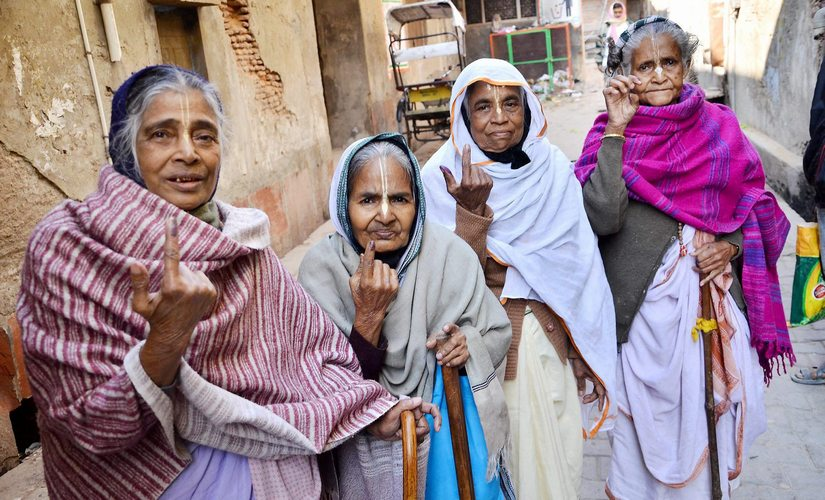 Bengali widows after casting their vote in Mathura. PTI