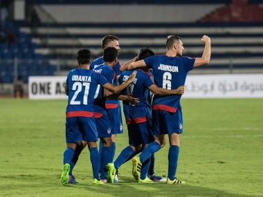 Bengaluru FC celebrate after a goal during their match against Mohun Bagan in the AFC Cup. Twitter/ @BengaluruFC
