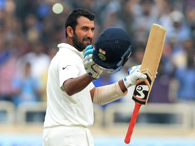 Cheteshwar Pujara showed glacial control during his knock in Ranchi. AFP