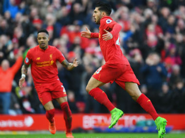 Emre Can celebrates after scoring the winner for Liverpool against Burnley. Getty Images