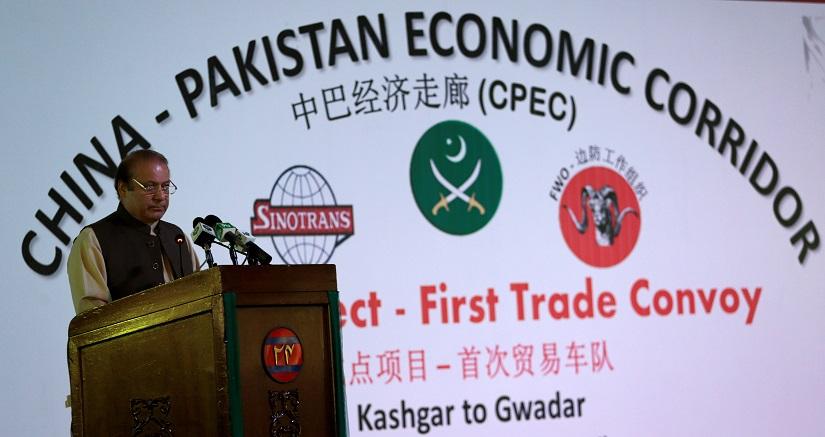 Pakistan's Prime Minister Nawaz Sharif speaks at the inauguration of the China Pakistan Economic Corridor port in Gwadar, Pakistan November 13, 2016. REUTERS/Caren Firouz - RTX2TG7U
