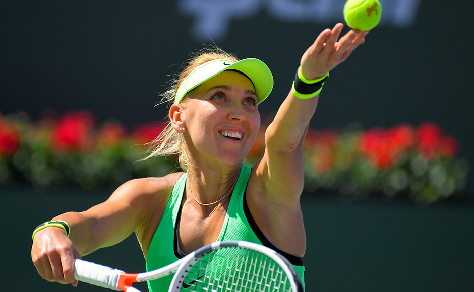 Elena Vesnina, of Russia, serves to Svetlana Kuznetsova, also of Russia, during a final match at the BNP Paribas Open tennis tournament, Sunday, March 19, 2017, in Indian Wells, Calif. (AP Photo/Mark J. Terrill)