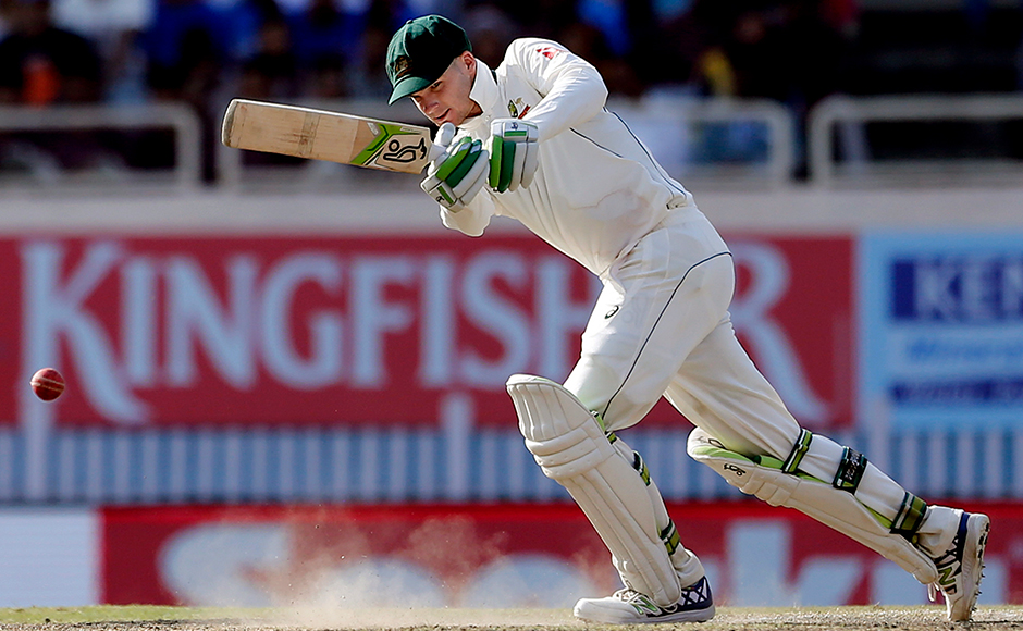 Australia's Peter Handscomb plays a shot during the fifth day of their third test cricket match against India in Ranchi, India, Monday, March 20, 2017. (AP Photo/Aijaz Rahi)