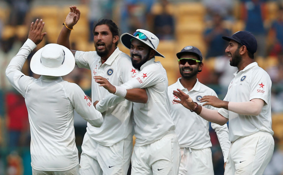 Ishant Sharma and teammates celebrate after the Australians lost wickets in a jiffy. REUTERS