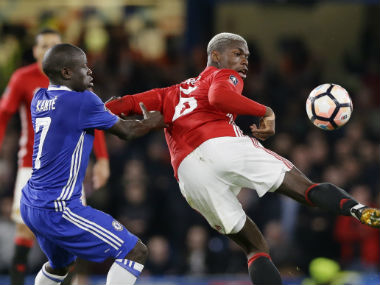 While N'Golo Kane was dominant in his display against Manchester United, Paul Pogba appeared to have wilted to pressure. AP