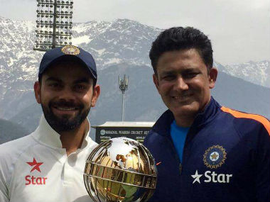 Captain Virat Kohli and head coach Anil Kumble with the ICC Test mace. Image courtesy: Anil Kumble via Twitter