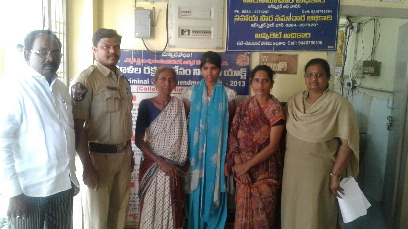 Venkatalakshmi (second from right) managed to get abck to India from Bahrain. However, she continues to live in fear of the agents who trafficked her.