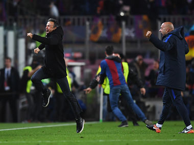 Luis Enrique celebrates as Sergi Roberto of Barcelona scores their sixth goal to knock PSG out of Champions League. Getty