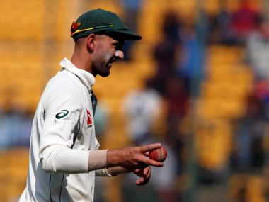 Australia's Nathan Lyon acknowledges the crowd as he walks off the ground on Saturday. REUTERS