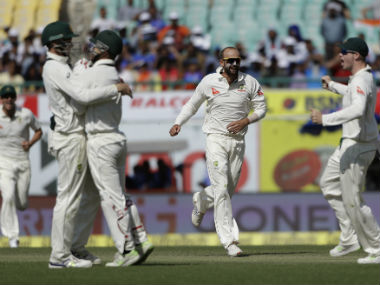 Nathan Lyon changed the way he bowled after tea which helped him take four wickets. AP
