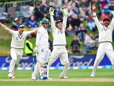 New Zealand's players appeal for a catch call on South Africa's Dean Elgar (2nd L) during day four. AFP