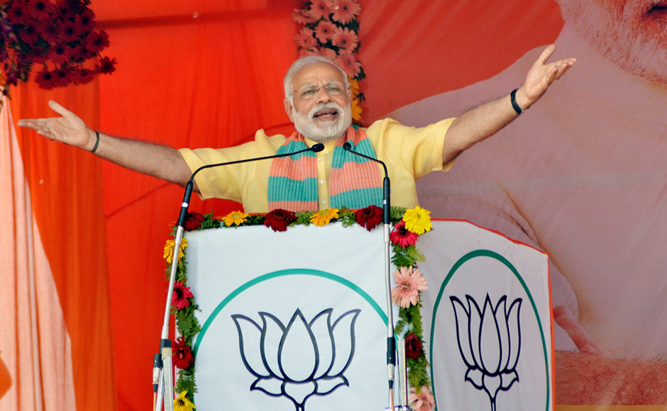Prime Minister Narendra Modi addresses an election campaign rally in Maharajganj district on Wednesday. PTI Photo (PTI3_1_2017_000210B)