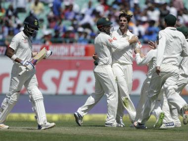 Pat Cummins celebrates KL Rahul's dismissal on Day 2 of fourth Test. AP