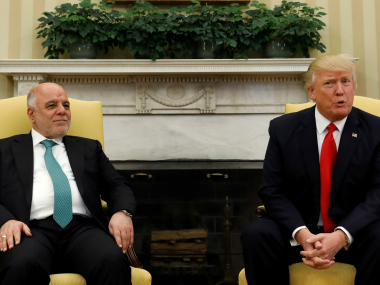 US President Donald Trump meets with Iraqi Prime Minister Haider al-Abadi at the White House in Washington. Reuters