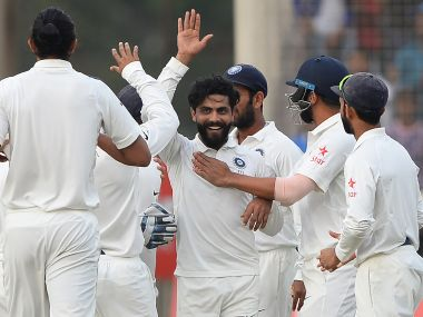 Ravindra Jadeja celebrates after taking the big wicket of Steve Smith on the final day in Ranchi. AFP