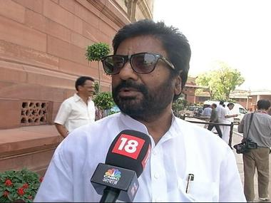 A file image of Shiv Sena MP Ravindra Gaikwad who is grounded by all major airlines after he assaulted an Air India employee. CNN-News18