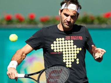 Roger Federer during a practice session at Indian Wells. Image courtesy: BNP Paribas Open website
