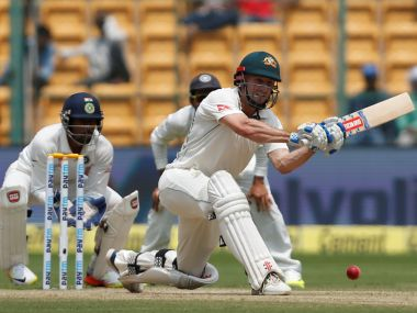 Australia's Shaun Marsh plays a shot on day 2 of the second Test. REUTERS/Danish Siddiqui - RTS11HXP