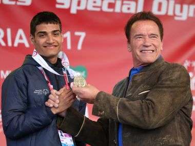 India's Shubham Singh is given his medal by Hollywood actor Arnold Schwarzenegger. Photo courtesy: GEPA pictures/Special Olympics.com