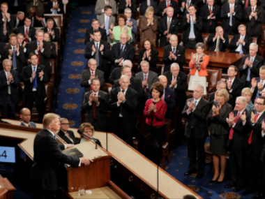 Donald Trump addressing the US Congress. AP