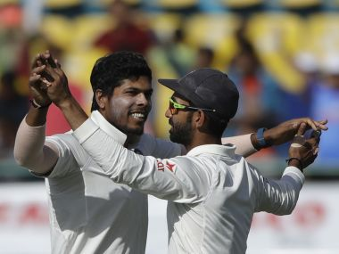 Umesh Yadav one his best spells on Day 3 in Dharamsala. AP