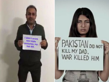 Virender Sehwag and Gurmehar Kaur. Image courtesy: Twitter and YouTube