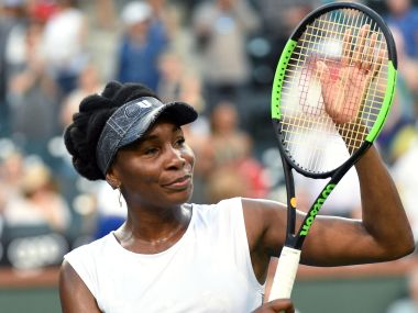 Venus Williams celebrates after defeating Jelena Jankovic at Indian Wells. Getty