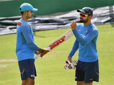 Virat Kolhi with Shreyas Iyer during a practice session ahead of the last Test against Australia. PTI