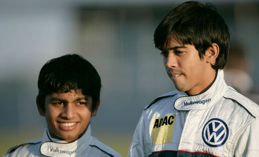 Ashwin Sundar (L) with Aditya Patel during the ADAC VW Polo Cup 04 in 2009