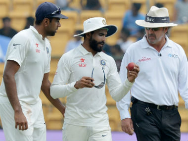 Ashwin (L) and Jadeja played a stellar role in the win over Australia in the Bengaluru Test. AFP