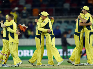 Australia players celebrate their win over New Zealand in the 2nd ODI in Canberra in December 2016. AFP
