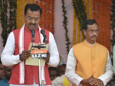 Two deputy chief ministers of Uttar Pradesh - Keshav Prasad Maurya and Dinesh Sharma (right). PTI