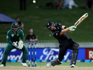 Martin Guptill of New Zealand bats against South Africa in the 4th ODI in Hamilton. AFP