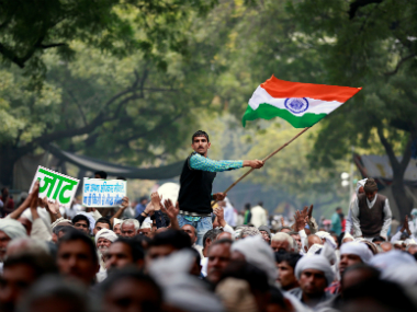 Members of the Jat community gather in Delhi to demand a greater quota in education and government jobs. Reuters