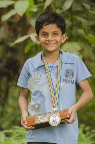 Nihal after becoming the World Under-10 Champion in Durban in 2014.