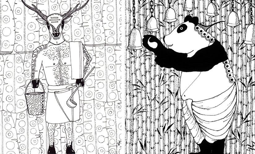 Sambar and Panda. Illustrations by Nitin Mani