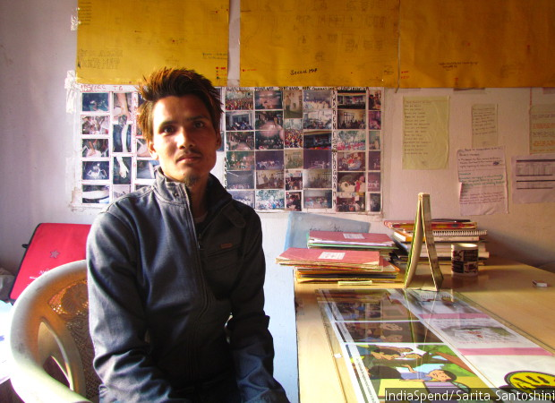 Bishal Sherpa, a former drug user and outreach worker in Jorethang-based NGO Hope Foundation, at their office. Sherpa lost his younger brother, Vicky, also a drug user, to suicide in 2015. Sarita Santoshini/Indiaspend