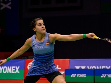 Carolina Marin in action at the India Open 2017. AFP