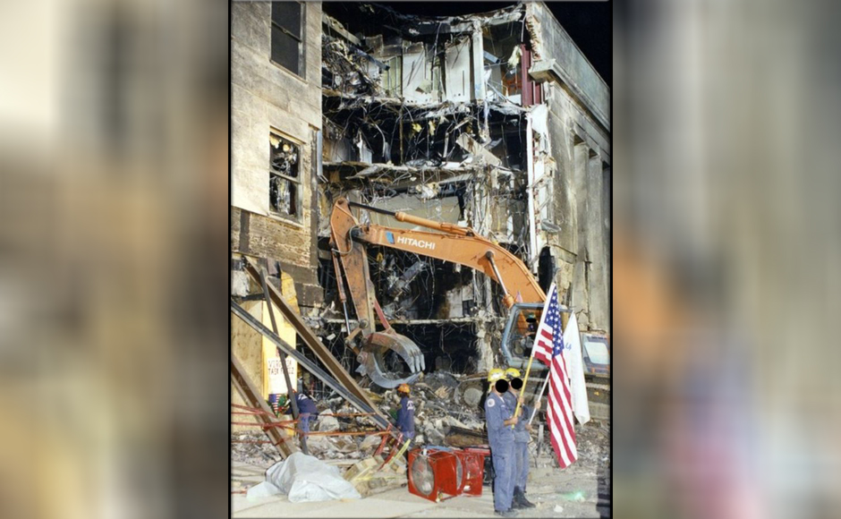 Search crews appear to scour the wreckage in one of the images released by FBI