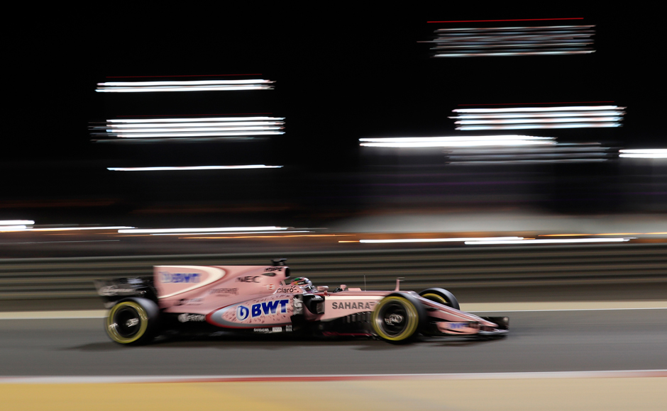 Force India driver Sergio Perez of Mexico steers his car during the Bahrain Formula One Grand Prix, at the Formula One Bahrain International Circuit in Sakhir, Bahrain, Sunday, April 16, 2017. (AP Photo/Hassan Ammar)