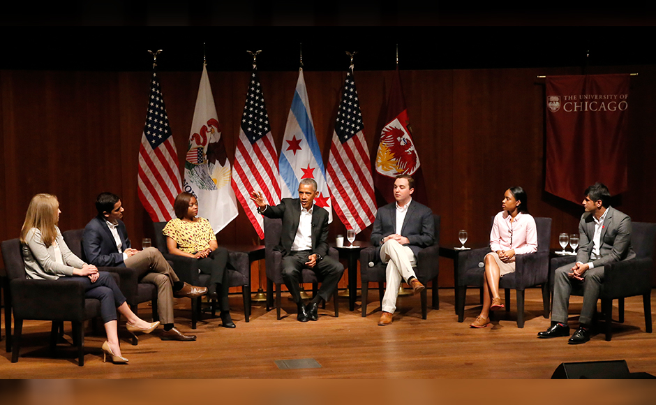 Obama offers advice on leadership, social media, and marriage at first event since leaving office